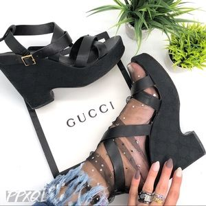 Gucci Authentic GG Logo Strappy Wedge Sandals